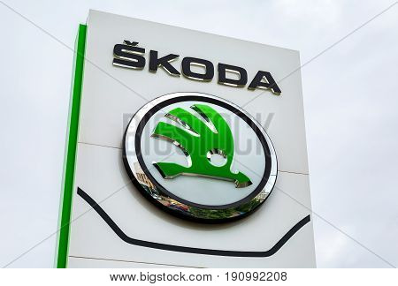 Samara Russia - June 3 2017: The dealership sign of Skoda over cloudy sky. Skoda Auto is an automobile manufacturer based in the Czech Republic