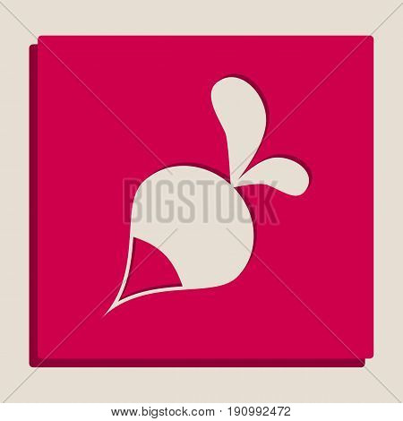 Radish simple sign. Vector. Grayscale version of Popart-style icon. poster