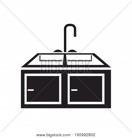 kitchen sink with drying rack furniture vector illustration