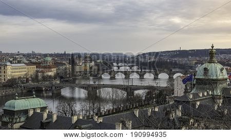 Prague Czech - March 14 2017: View at the bridges of Prague from Letna Prague Czech