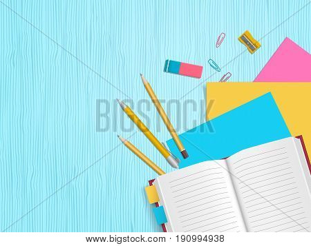 School supplies, open notebook, pencils, paper, eraser on wooden background with place for text. Back to school. Education and school concept. Vector illustration