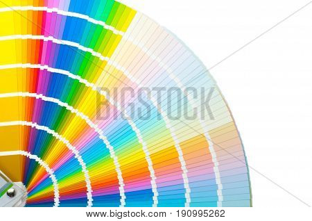 Fan with color palette, guide of acrylic paint samples