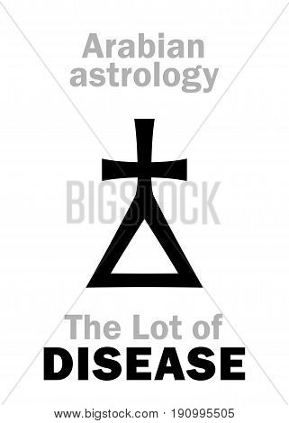 Astrology Alphabet: Lot of DISEASE, Arabian point of horoscope. Hieroglyphics character sign (single symbol).