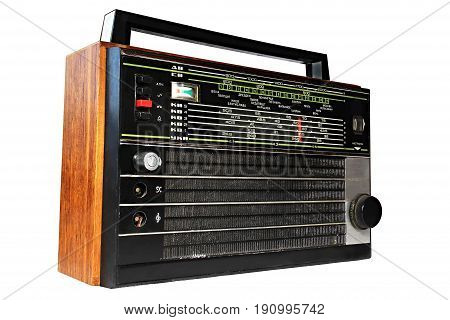 Old radio. The translation of the inscriptions of the waves is long medium short. Next Vienna Leipzig Kiev Bratislava Dresden Lions Budapest Warsaw Leningrad Poznan Vilnius Tallinn Berlin Prague Riga Vienna Moscow Helsinki. Tuning
