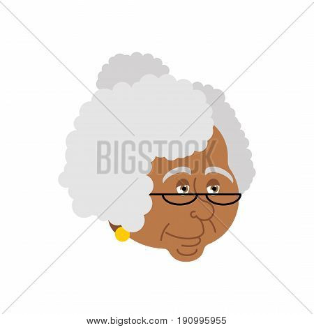 Grandmother African-american Portrait. Old Woman Face. Crone Isolated. Gammer With Glasses