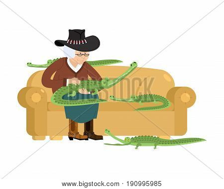 Australian Grandmother And Crocodile. Australia Old Woman And An Alligator Pet. Grandma In Hat On Co