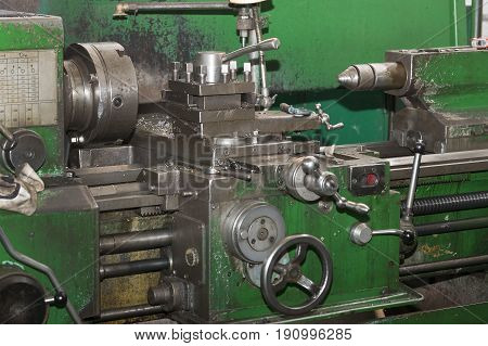 Metalworking machines working mechanisms are shot close-up