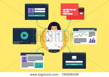 Web Life of Working Woman from video blog social networks online shopping and email. Graphic user interface and web pages forms and elements. Vector