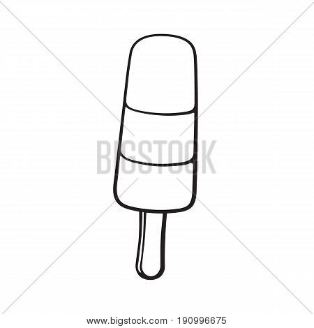 Vector illustration. Hand drawn doodle of ice cream tri-color fruit ice lolly. Cartoon sketch.  Decoration for menus, signboards, showcases, greeting cards, posters, wallpapers