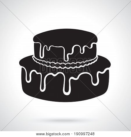 Vector illustration. Silhouette of double-tiered cream cake with glaze. Decoration for menus, signboards, showcases, greeting cards, wallpapers
