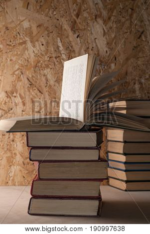 Open Book, Stack Of Books In Hardcover. Back To School.