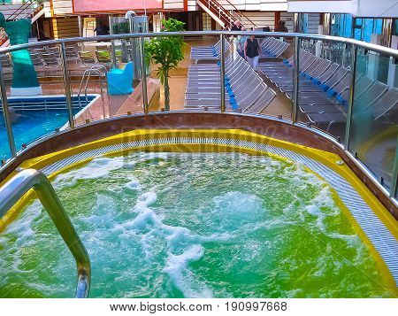 La Romana, Dominican Republic - February 05, 2013: Costa Luminosa cruise ship, owned and operated by Crociere, built Fincantieri Marghera shipyard in 2009. The jacuzzi pool and interior of the ship
