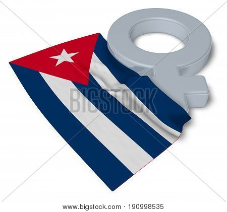 female symbol and flag of cuba - 3d rendering