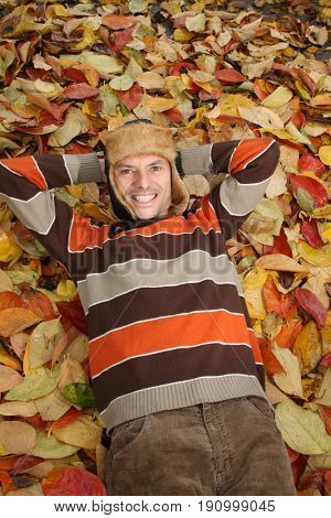 man in the autumn forest