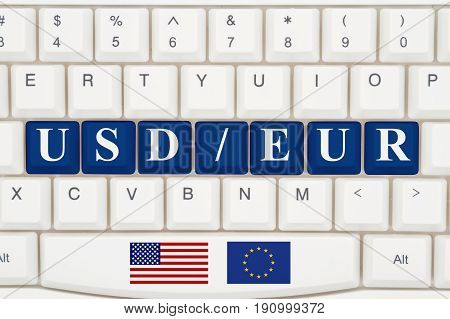 Currency converter on the internet A close-up of a keyboard with blue highlighted text USD EUR 3D Illustration