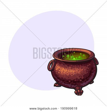 Halloween cauldron with boiling green potion inside, sketch style vector illustration with space for text. Hand drawn, sketch style caldron, caulron, witchcraft accessory, Halloween object