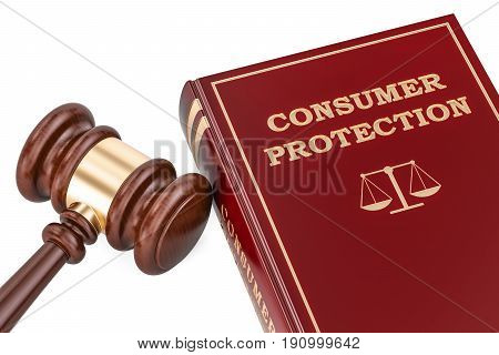 Consumer protection concept with gavel and book 3D rendering