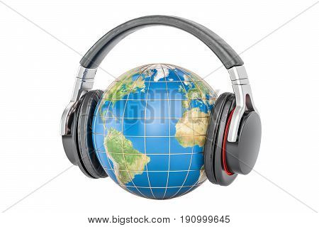 Earth globe with headphones 3D rendering isolated on white background