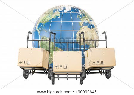 Global shipping and delivery concept parcels on the hand trucks and Earth. 3D rendering