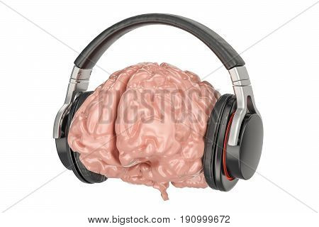 Headphones with brain 3D rendering isolated on white background
