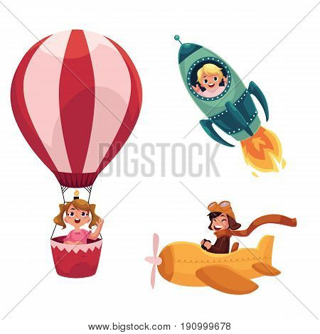 Kids, children flying in aircrafts - plane, rocket, hot air balloon, cartoon vector illustration isolated on white background. Little kids in aircrafts - spaceship, rocket, hot air balloon, airplane