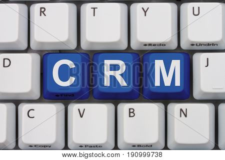 Using CRM software A close-up of a keyboard with blue highlighted text CRM 3D Illustration