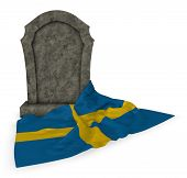 gravestone and flag of sweden - 3d rendering poster