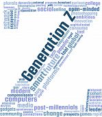 Generation Z Word Cloud Text Illustration. Generation Z related keyword tags isolated vector. Transparent. poster