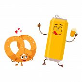 Happy aluminium beer can and salty pretzel characters having fun together, cartoon vector illustration isolated on white background. Funny smiling beer can and pretzel characters, go well together poster