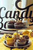 Holiday candy bar. Candy bar served with cupcakes with chocolate and lemon cream on stump poster