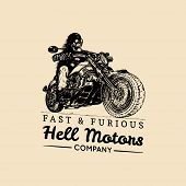 Fast And Furious advertising poster. Vector hand drawn skeleton rider on motorcycle. Vintage eternal biker illustration for custom company logotype, chopper garage label, MC sign, t-shirt print etc. poster