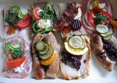 Smorrebrod Danish open face sandwich with mix of toppings poster