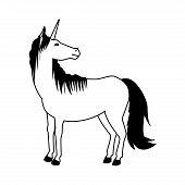 unicorn legendary mythical creature horned vector illustration poster