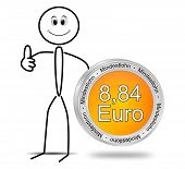 Stickman with 8,84 Euro minimum wage - in german - 3D illustration poster