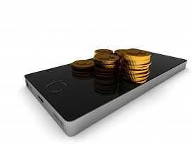Mobil banking. Smartphone and golden coins isolated on white background. High quality 3d render.