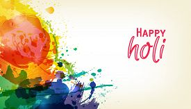 Happy Holi. Indian Fest Party celebration. Spring, festival of colour, splash, paint clouds, powder paint. Watercolor abstract background. Template for creative flyer, banner, business card design.