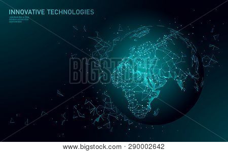 Low Poly Planet Earth Global Business Connection. Global Online Network World Map Europe Africa Cont
