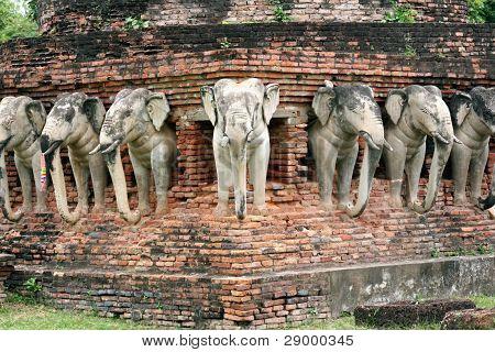 Elephant statues in Sukhothai