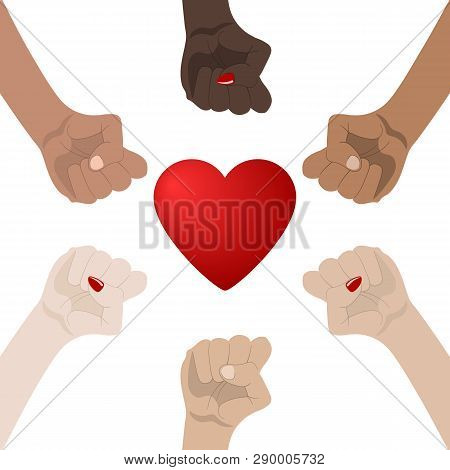 World Racial And Gender Equality. Unity, Alliance, Team, Partner Concept. Holding Hands Showing Unit