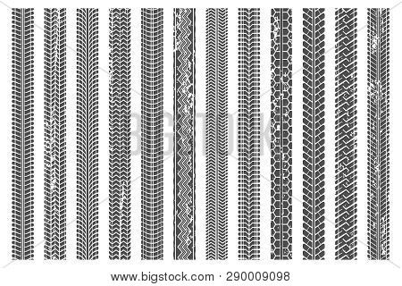 Tires Tread Tracks. Dirty Tire Track, Grunge Texture Treads Pattern And Truck Car Trace Vector Illus
