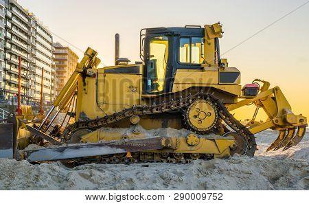 Bulldozer At The Beach, Ground Moving Equipment, Heavy Machinery, Groundwork Industry