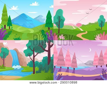 Flat Landscape. Summer Field Nature, Forest Fauna And Waterfall Landscapes. Mountains And Cloudy Sky