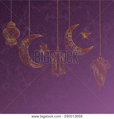 Ramadan Kareem Greeting Design Illustration. Golden Ornamental Halfmoon And Lanterns On The Purple G