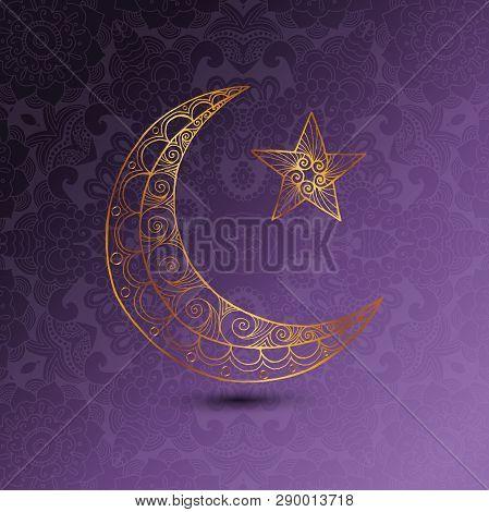 Ramadan Kareem Greeting Design Illustration. Golden Ornamental Half Moon On The Purple Gradient Back