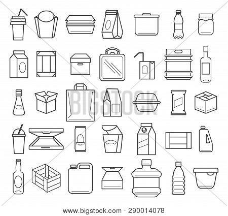 Package And Packaging Line Icons. Box Packages And Transport Service Boxes Outline Icon Set, Vector