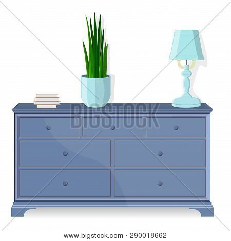 Chest Of Drawers, Bedside Table. Vector. Furniture Icon In Flat Design. Cartoon House Equipment Dres