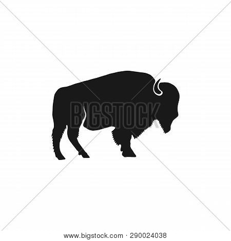 Buffalo Icon Silhouette. Retro Letterpress Effect. Bison Black Symbol Pictogram Isolated. Use For St