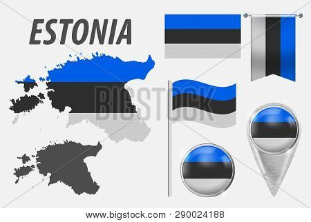 Estonia. Collection Of Symbols In Colors National Flag On Various Objects Isolated On White Backgrou
