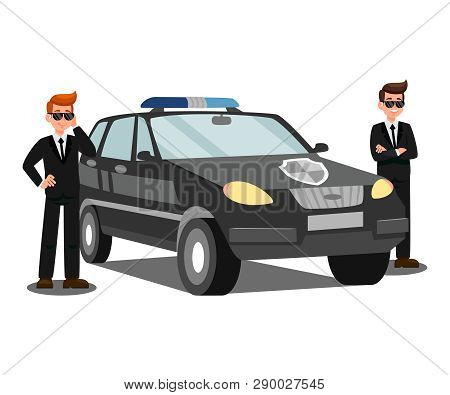 Security Agents And Car Flat Vector Illustration. Bodyguards With Earpieces Isolated Cartoon Charact
