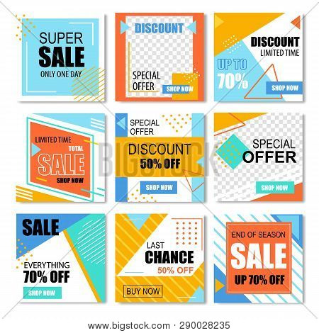 Special Discount Posters For Social Media Promo. One Day Sale, Last Chance Get 50 Or 70 Percent Off,